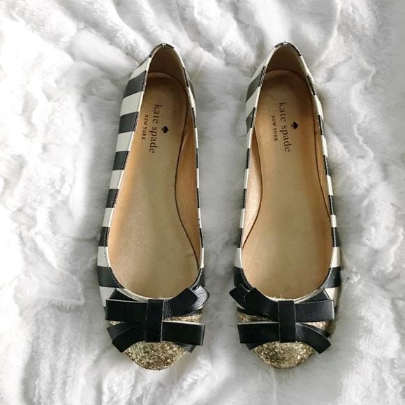 7a01e8a598 kate spade Shoes | Sale Glitter Stripped Trixie Bow Flats | Poshmark